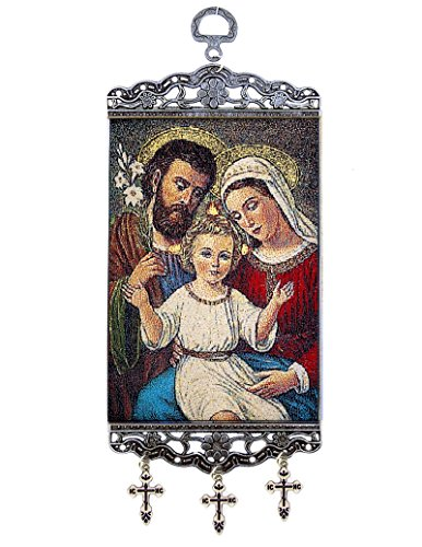 Religious Gifts Holy Family Tapestry Icon Banner Saint Mary Joseph Jesus 9 3/4 Inch by Religious Gifts