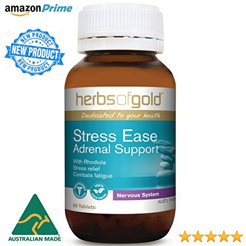 Stress Ease for Adrenal Support - High potency extracts of Rhodiola, Ashwagandha, Rehmannia, Licorice plus Tyrosine - Anti Fatigue - Calming - Adaptogenic - TGA Listed & Australian-made