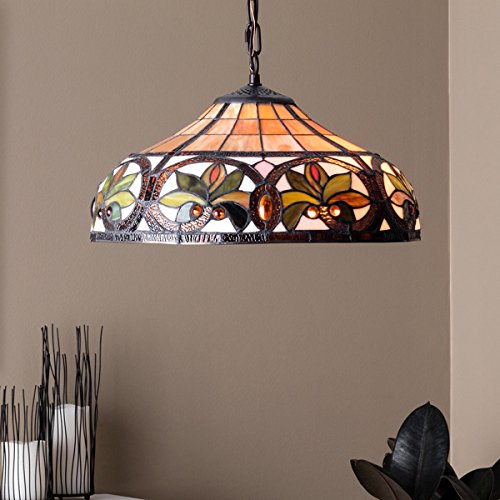Tiffany Style Chandelier Lighting 2 Light Pendant Hanging Lamp Colorful Glass Victorian Ceiling Light Fixture H 12 x D 18 inches Shade Bronze Finish + Bonus Free eBook Lighting Trends