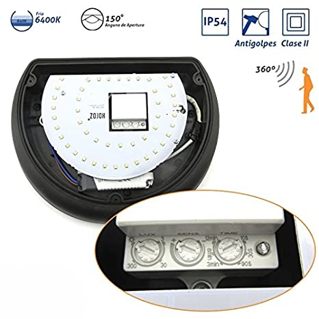Plafón Media Luna IP54 antivandálico LED 6400K con sensor Negro: Amazon.es: Bricolaje y herramientas