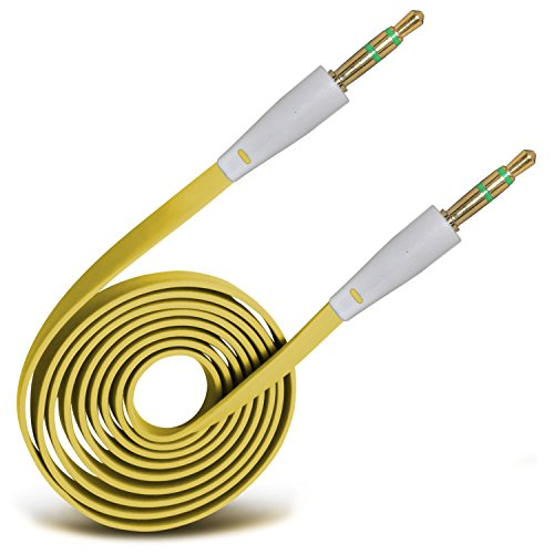 (ONX3® (Yellow) High Quality 3.5mm Male To Male Jack Flat Cable AUX Auxiliary Audio Cable Lead For Blackberry Curve 8520)