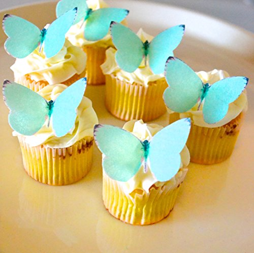 Small Teal Color Set of 24 - Cake and Cupcake Toppers, Decoration ()