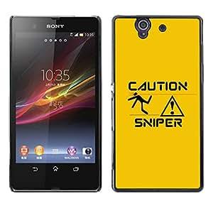 // PHONE CASE GIFT // Duro Estuche protector PC Cáscara Plástico Carcasa Funda Hard Protective Case for Sony Xperia Z L36H / Sniper Caution /