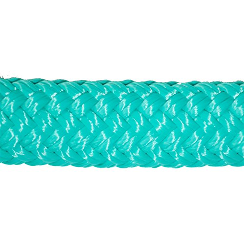 Knotty Girlz Horse Rope Hackamore Set, Soft Yacht Double Braid Hackamore Halter and with 22ft. Mecate Reins Tied in (Turquoise Hackamore w/Turquoise Mecate)