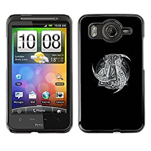 A-type Arte & diseño plástico duro Fundas Cover Cubre Hard Case Cover para HTC G10 (Black White Viking Art Pattern Gods)