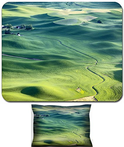 Luxlady Mouse Wrist Rest and Small Mousepad Set, 2pc Wrist Support design IMAGE: 41763182 A streambed flows around the wheat fields and hills of the farmland in the Palouse area of Eastern Washington