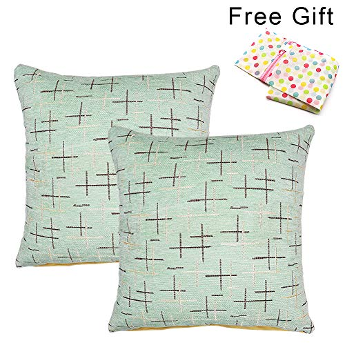 (West Bay Throw Pillow Covers, 2Pcs Stripe Cushion Covers Decorative Pillows Covers for Bed Sofa Bedroom Car Home Decoration Polyester Cotton Blend Printing (18 x 18 Inches, Light Green))