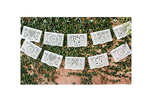 (Paper Full of Wishes Medium White Tissue Papel Picado Banner - 12 Panels Over 16 Feet Long - Ideal for Baptisms, Weddings, Mexican Celebrations,)