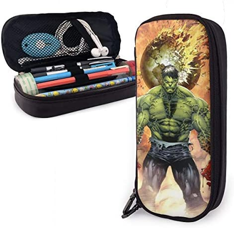 Hulk Big Capacity Leder Mäppchen Case Pencil Pouch Box gfcctyttj ivdautile Praktische Tasche Bag Holder With Zipper Size-20cmx9cmx4cm