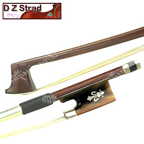 Frog Finished (D Z Stradl Model 524 Full Size 4/4 Top Brazil Wood Violin Bow with Ox Horn Fleur de Lis Frog)