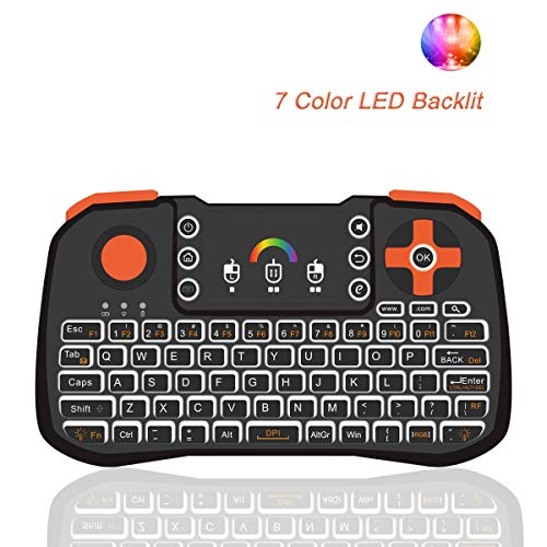 (Mini Wireless Keyboard, Tripsky TZ10 Mini Keyboard, Handheld Remote with Touchpad Mouse for Android TV Box, HTPC, IPTV, Android OS (Black))