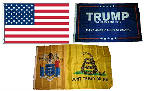 ALBATROS 3 ft x 5 ft Trump #1 with American with State of New Jersey Gadsden Set Flag for Home and Parades, Official Party, All Weather Indoors Outdoors