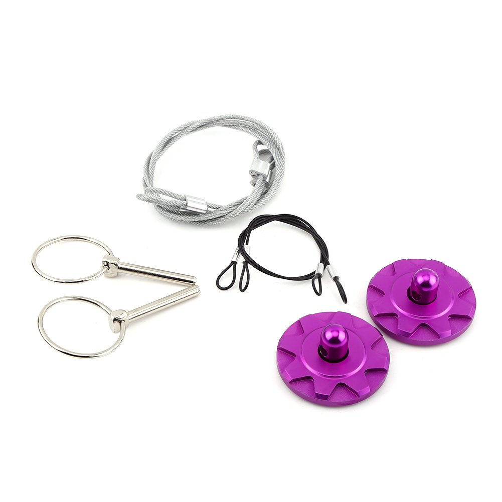 Suitable for Most of Cars Hook Pins with Accessories Universal Aluminum Alloy Bonnet Hood Lock Pins Kit Purple