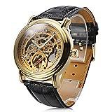 Classic Men's Black Leather Gold Dial Skeleton Mechanical Sport Automatic Wrist Watch Elegant New Dress Man Watch
