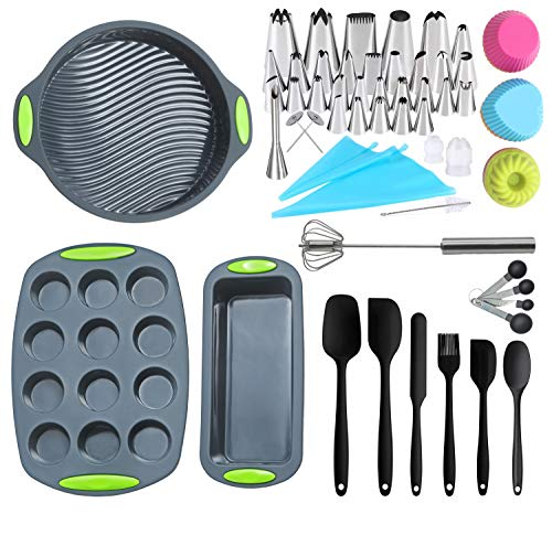 62 Pieces Bakeware Set | Food Grade Baking Set Silicone Molds | Round Cake Pan, Loaf Bread Pan, Muffin Pan, Spatula Set, Hand Mixer, Cupcake Mold, Piping Bags and Tips Kit Cake Decorating Supplies (Loaf Bread Round)