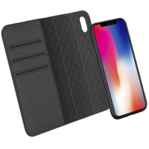 iPhone X Case ZOVER Detachable Genuine Leather Wallet Case With Auto Sleep/Wake Function Support Wireless Charging Magnetic Car Mount Holder Kickstand Feature Magnetic Closure Gift Box Black