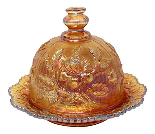 (Rhyne and Son Imperial Glass Marigold Butter Dish - Made in The USA)