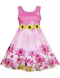Sunny Fashion Girls Dress Tulip Flower Garden With Necklace Pink