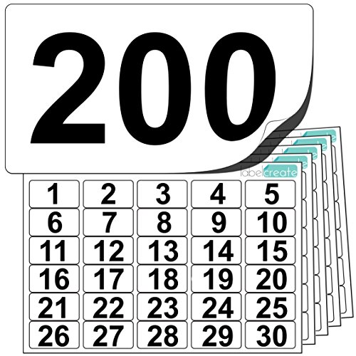 Premium Plastic Number Stickers 1 to 200 (+ 10 Blank Spares). Ultra Durable Label Stock. Suitable for Outdoor Use. 100% Waterproof.