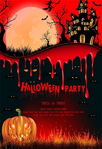 Laeacco Vinyl 5x7FT Photography Background Halloween Party Decorations Trick or Treat Theme Girmace Pumpkin Lantern Scary Blood Ghost Haunted House Moon Night Spooky Photo Backdrop Children Adults