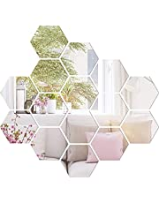 15 Pieces Mirror Sheets Decals Self Adhesive Mirror Tiles Non-Glass Mirror Stickers (6 x 6 Inch)