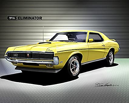 amazon com 1969 mercury cougar eliminator yellow art printimage unavailable image not available for color 1969 mercury cougar eliminator