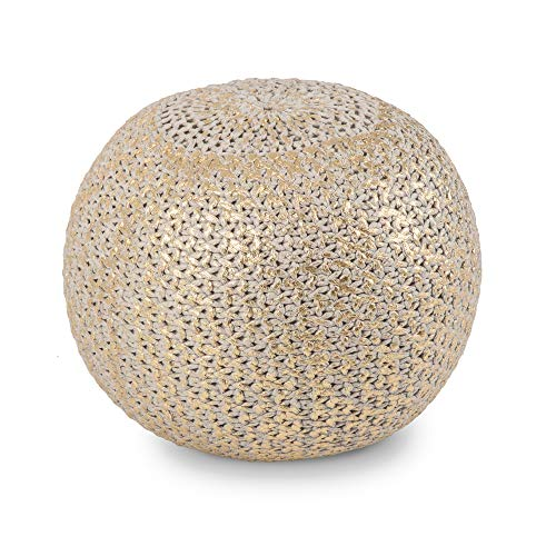 Madeleine Home Milan Cross Knit Pouf | Stylish Handmade Accent Ottoman Pouffe | Accent Hassock Floor Cushion for Under Desk, Entry Way, Living Room, Bedroom, Dining | 20