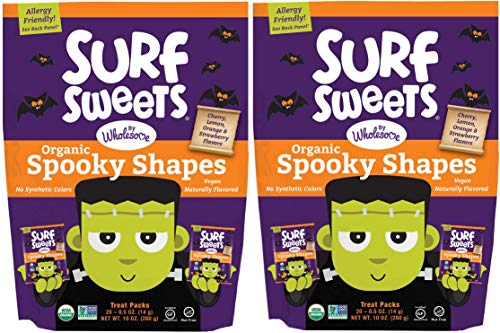Surf Sweets Organic Fruit Snacks by Wholesome - Halloween Trick or Treat Candy Bags, 20-0.5 Ounce (Pack of 2) with Spooky Shapes in Cherry, Lemon, Orange and Strawberry Flavors - Gluten-Free, Non-GMO -