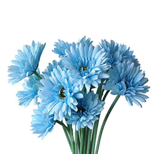 (cn-Knight Artificial Flower 12pcs 22'' Long Stem Silk Daisy Faux Mums Flower Chrysanth Gerbera for Wedding Bridal Bouquet Bridesmaid Home Decor Office Baby Shower Prom Centerpiece(Blue))