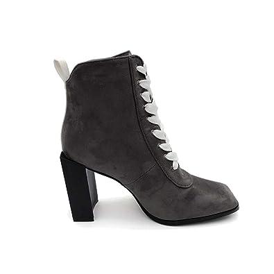 Jitian Chaussure Lacets Femmes Bottes A Talons Montantes Boots Daim
