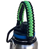 Gearproz Handle for Takeya Water Bottles - America's #1 Paracord Carrier with Safety Ring Holder - Fits Wide Mouth 12 oz to 64 oz - Top Ratings, 20+ Colors (Citron)