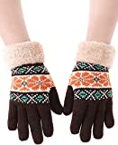 Knitted Fleece Lined Gloves Winter Glove Warm Mittens for Women Girls Coffee
