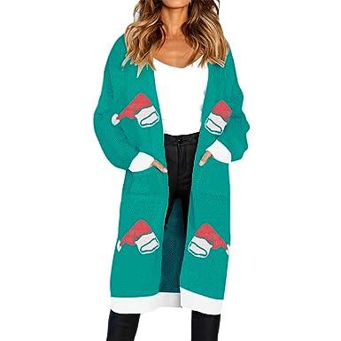 Darringls Abrigo Mujer cálido, Abrigo Mujer Elegantes, Chaqueta de Punto Mujer Cárdigan de Punto Abrigos Elegantes Color sólido Casual Sombrero de Navidad ...