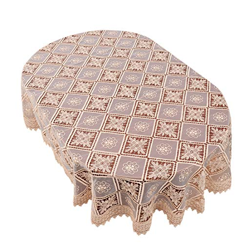 Simhomsen Oval Beige Lace Tablecloth Embroidered Linens for Dining Table Customer Order (60 x 84-inch Oval)