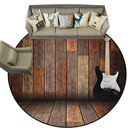 Popstar Party,Carpet Flooring Electric Guitar in The Wooden Room Country House Interior Music Theme D78 Soft Area Rug for Children -