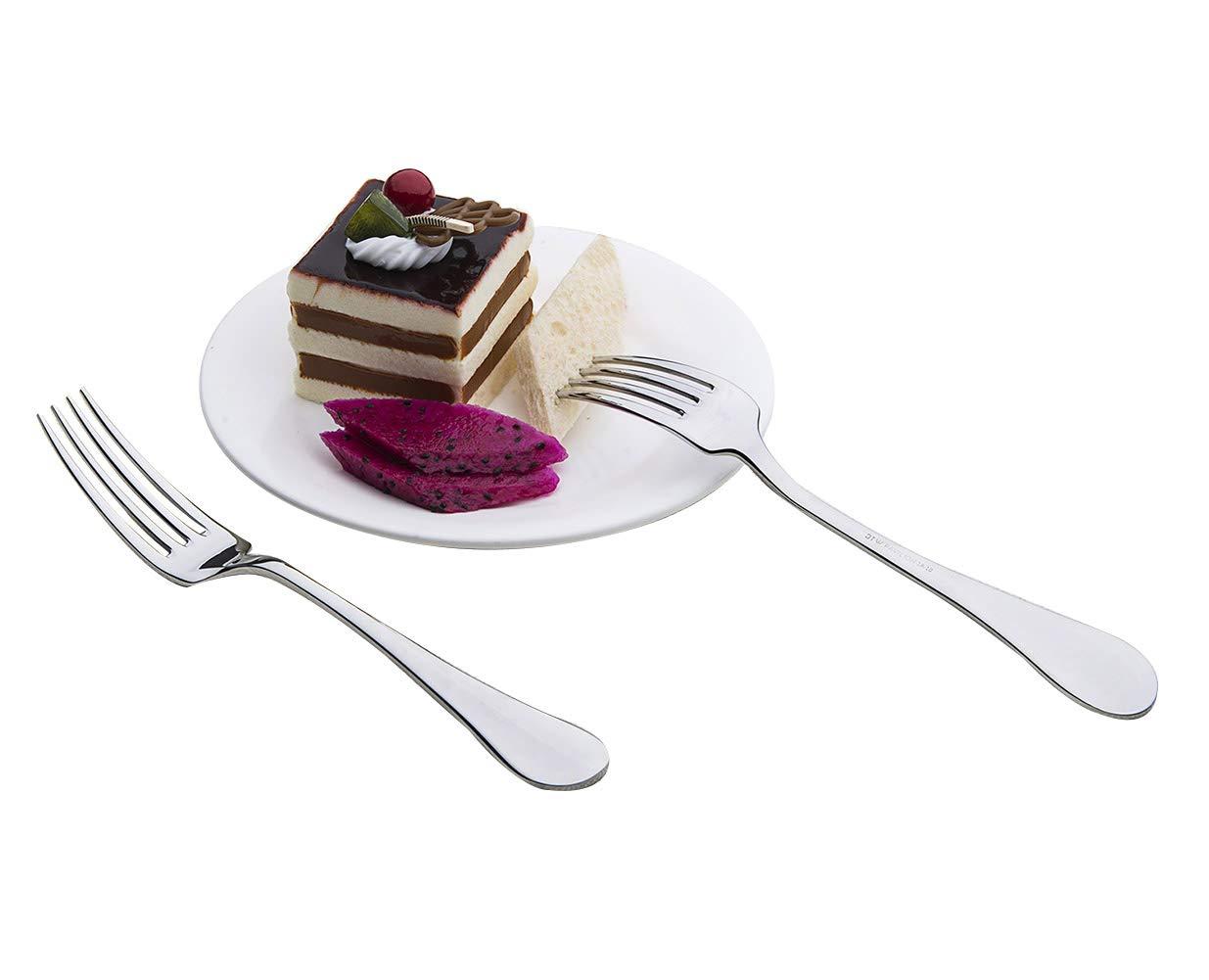 OTW PAVILION 18/10 Stainless Steel 12-Piece Dessert Forks Salad Forks Set for Salad Fruit Cake 7-Inch Mirror Polished Silver Dessert Appetizer Forks Set for Home Party Restaurant Birthday Daily Use