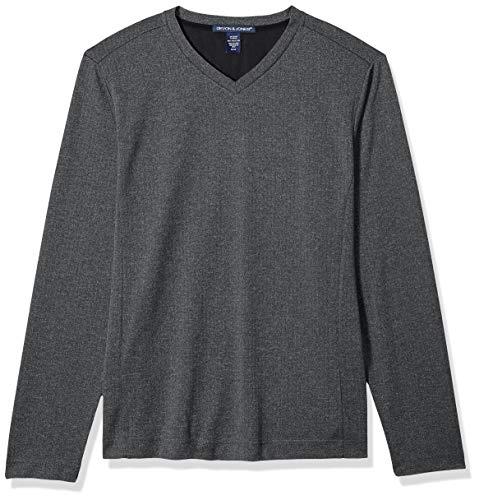 Sweater Herringbone V-neck (D & Jones Men's DEJN-D884 Fairfield Herringbone V-Neck Pullover, Dk Grey Heather, 4XL)
