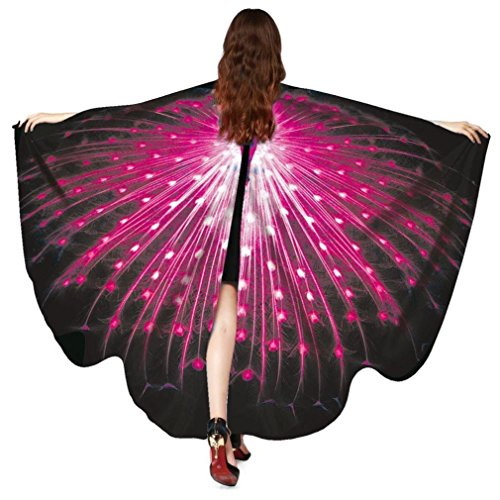 Butterfly Flowy Wings Shawl Cape,Christmas Halloween/Party Prop Soft Fabric Butterfly Wing Costume Accessory for Adult Women (Peacock Black Red)