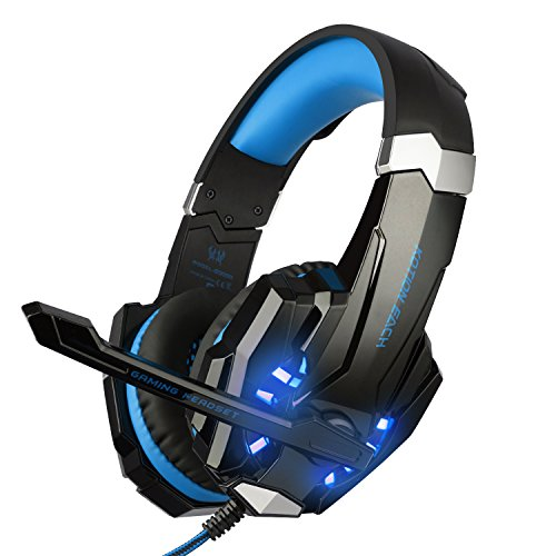 BlueFire 3.5mm Gaming Headset for PlayStation 4 PS4 Xbox One Games Tablet PC, Over Ear Headphone with Mic LED Light for Laptop Mac Nintendo Switch Controller (Blue) by BlueFire