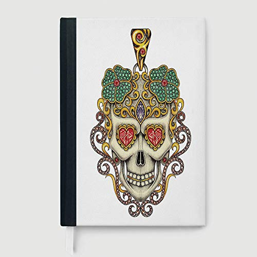 Casebound Hardcover Notebooks,Day Of The Dead,Case Bound Notebook,Sugar Skull with Heart Pendants Floral Colorful Design Print Decorative,96 Ruled Sheets,B5/7.99x10.02 in ()