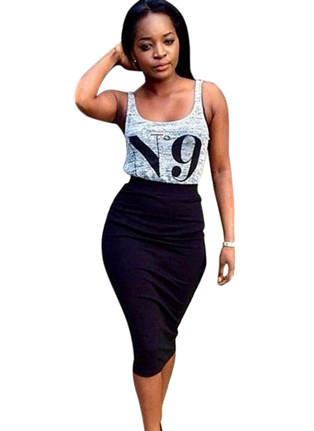 Women's Crop Top Midi Skirt Outfit Two Piece Bodycon Bandage Dresss