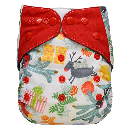 EcoAble Baby Charcoal Bamboo All-In-One AIO Cloth Diaper w/ Pocket, Size 10-35Lb (Christmas, Limited Edition)