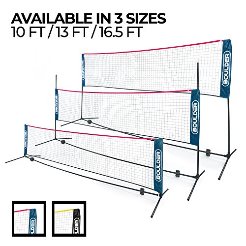 Boulder Portable Badminton Net - 13-Ft Small Net Set for Tennis, Soccer Tennis, Pickleball, Badminton- Easy Set-up Nylon Sports Net with Poles - For Indoor or Outdoor Court, Beach, Driveway