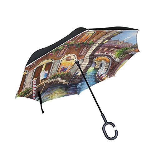 (imobaby Jennifer Straight Self-standing Reserve Umbrella Beautiful Venice Landscape Painting Double Layer Inverted Folding Umbrella Waterproof Umbrellas for Car)