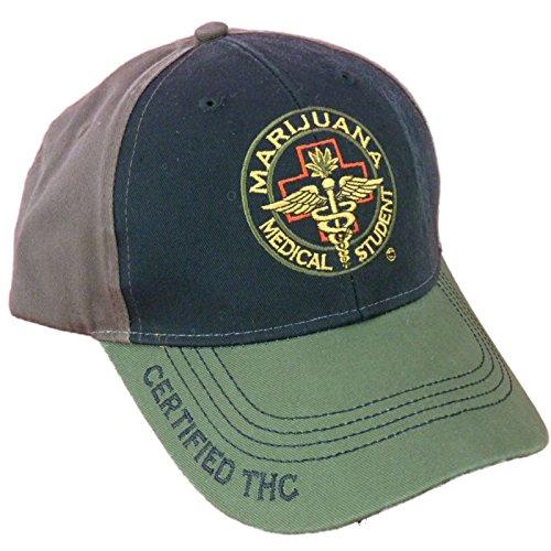 Cannabis-420-Marijuana-Themed-Ball-Cap-Hats-One-Size-MMJ-Student-Black-Front