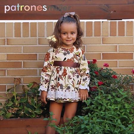 Patrón de costura vestido niña con manga larga, vídeo-tutorial para realizarlo. Talla 1 a 8 años. Patrón multitalla en papel.: Amazon.es: Hogar