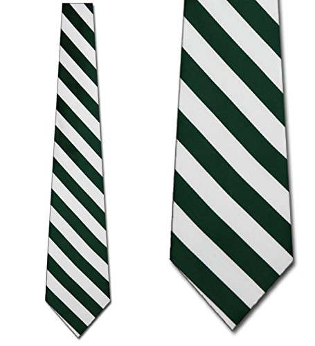 Mens College Forest Green and White Striped Ties (Tie Stripe Rep)