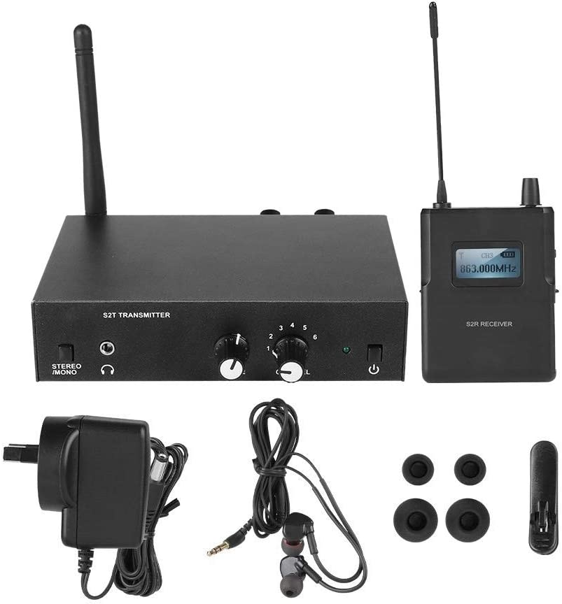Mobile DJs Monitor Weddings US Plug in Ear Monitor and Receiver in-Ear Stereo Audio Monitor System,for Multi-Room Venues for ANLEON S2 in Ear Stage Wireless Monitor System 561-568Mhz 100-240V
