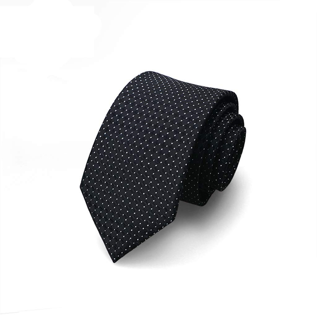NIEHFIT Mens Business Tie Hand Knotted Weaving Craft Delicate Cut Stylish Narrow Necktie Polyester Fabric Tie Formal Dress Color : Black