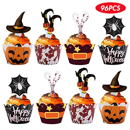 Halloween Witch Cupcakes (BigOtters Halloween Cupcake Wrappers, 96 pcs with Toppers Pumpkin Spider Witch's Boot Bloody Halloween Decor Party)